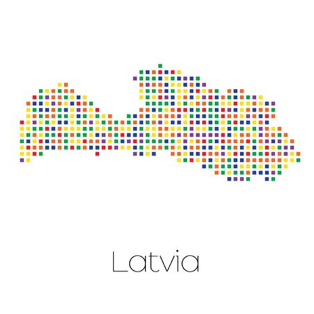 trans gender: A Map of the country of Latvia Stock Photo