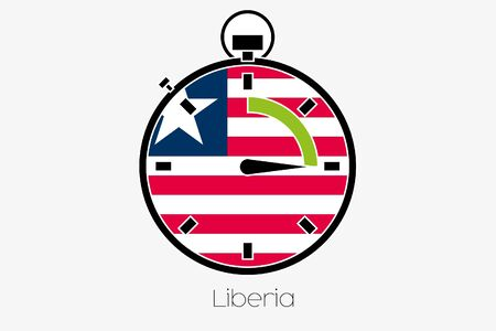 liberia: A Stopwatch with the flag of Liberia