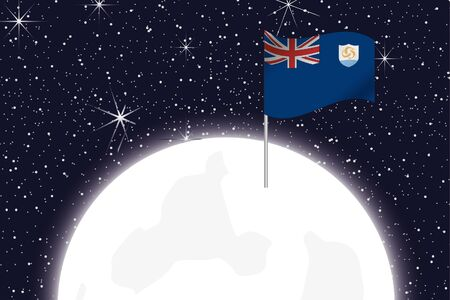 anguilla: A Moon Illustration with the Flag of Anguilla