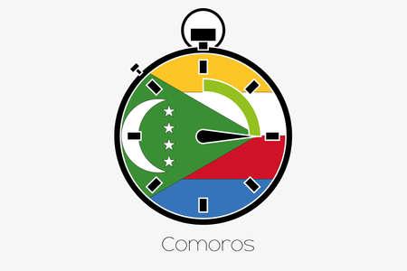 comoros: A Stopwatch with the flag of Comoros