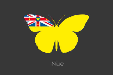 niue: A Butterfly with the flag of Niue
