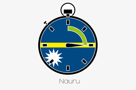 nauru: A Stopwatch with the flag of Nauru Stock Photo