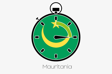 mauretanien: A Stopwatch with the flag of Mauritania