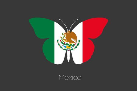 flying flag: A Butterfly with the flag of Mexico
