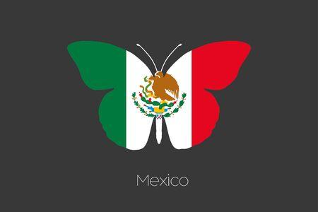 bandera blanca: Una mariposa con la bandera de México