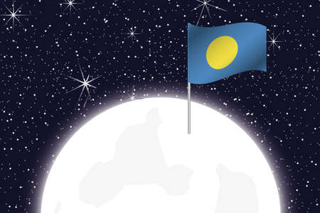 palau: A Moon Illustration with the Flag of Palau