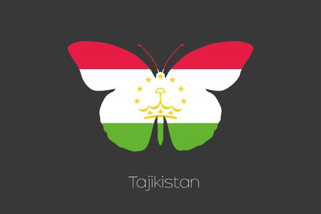 spring  tajikistan: A Butterfly with the flag of Tajikistan Stock Photo