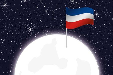 yugoslavia: A Moon Illustration with the Flag of Yugoslavia