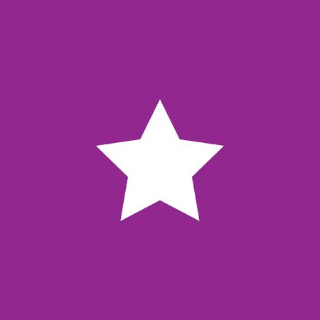 pointed: A White Icon Isolated on a Purple Background - 5 Pointed Star
