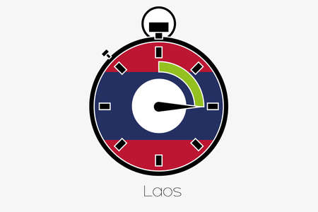 laos: A Stopwatch with the flag of Laos