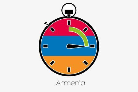armenia: A Stopwatch with the flag of Armenia Stock Photo