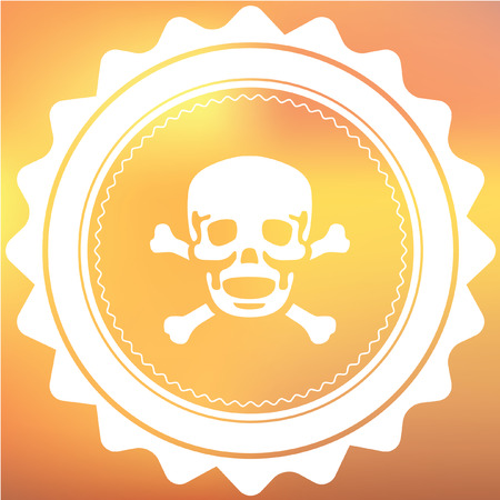 cross bones: A White Retro Icon Isolated on a Red and Yellow Background - Skull and Cross Bones Stock Photo