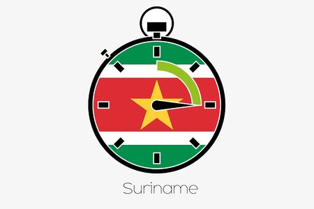 suriname: A Stopwatch with the flag of Suriname Stock Photo