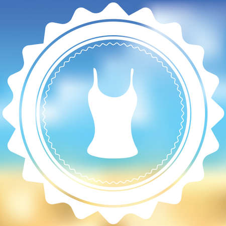 vest top: A White Icon Isolated on a Blurred Background - Vest Top Stock Photo