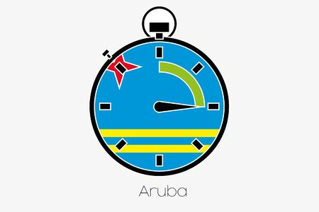 aruba: A Stopwatch with the flag of Aruba