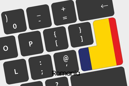 keyboard: A Illustration of a Keyboard with the Enter button being the Flag of  Romania