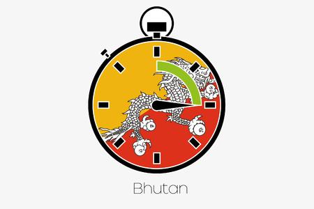 bhutan: A Stopwatch with the flag of Bhutan