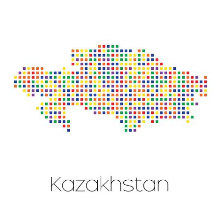 trans gender: A Map of the country of Kazakhstan Stock Photo