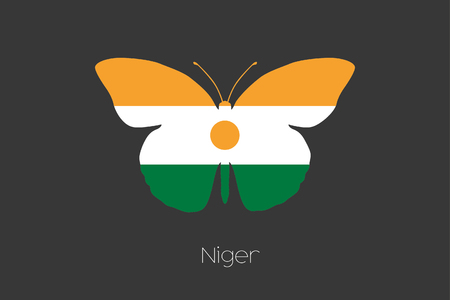 niger: A Butterfly with the flag of Niger Stock Photo