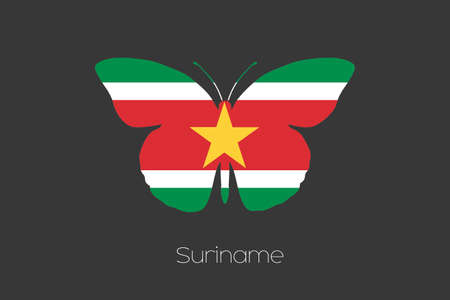 suriname: A Butterfly with the flag of Suriname