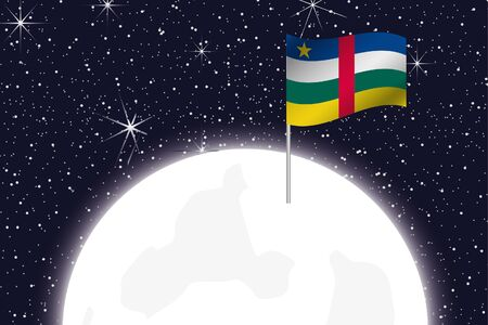central african republic: A Moon Illustration with the Flag of Central African Republic