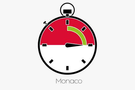 monaco: A Stopwatch with the flag of Monaco Stock Photo