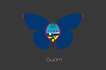 guam: A Butterfly with the flag of Guam
