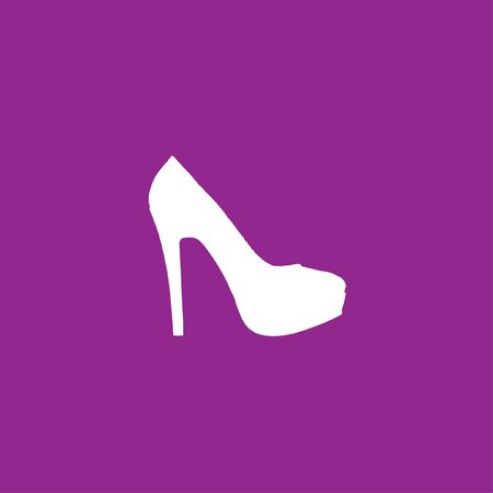 heel: A White Icon Isolated on a Purple Background - High Heels Stock Photo