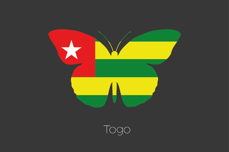 togo: A Butterfly with the flag of Togo