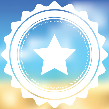 pointed: A White Icon Isolated on a Blurred Background - 5 Pointed Star