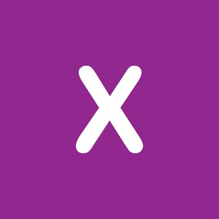 x files: A White Icon Isolated on a Purple Background - X