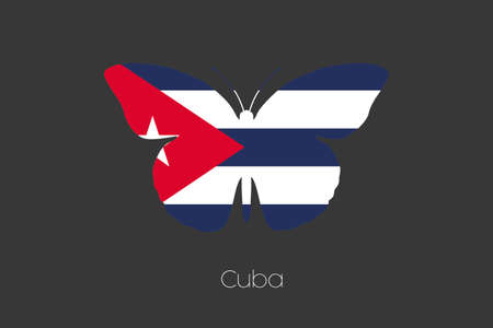 A Butterfly with the flag of Cuba