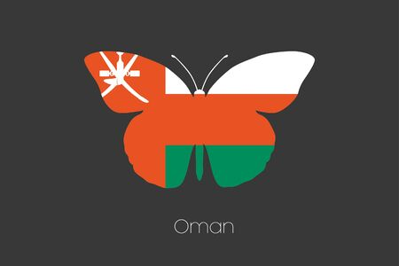 oman: A Butterfly with the flag of Oman Stock Photo
