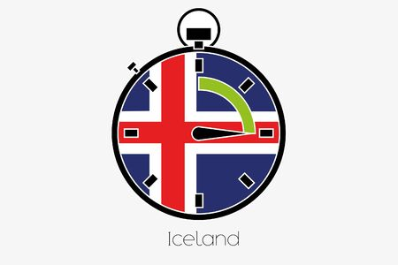 iceland: A Stopwatch with the flag of Iceland