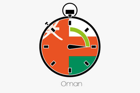 oman: A Stopwatch with the flag of Oman