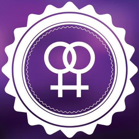 lesbienne: Une ic�ne r�tro isol� sur un fond pourpre - Lesbiennes Banque d'images