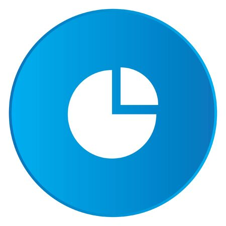 exploded: A White Icon Isolated on a Blue Button - Pie Chart Exploded Stock Photo