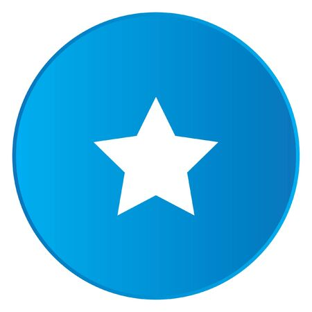 pointed: A White Icon Isolated on a Blue Button - 5 Pointed Star Stock Photo