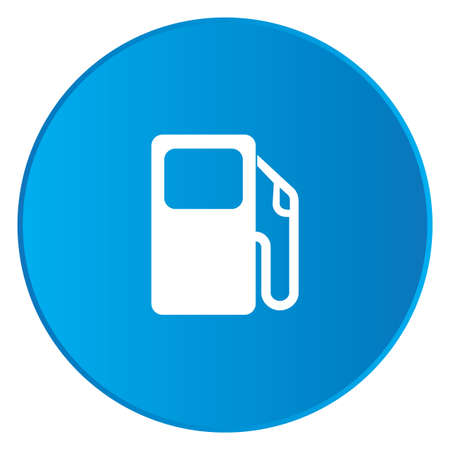 petrol pump: A White Icon Isolated on a Blue Button - Petrol Pump