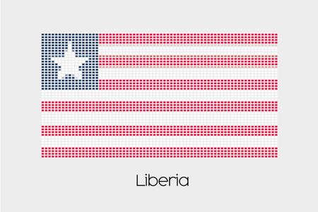 liberia: A Mosaic Flag Illustration of the country of Liberia