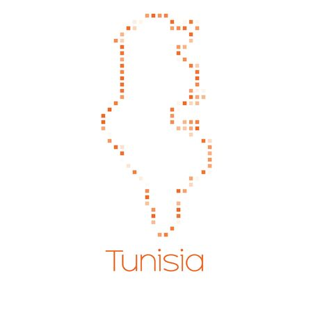 tunisia: A Map of the country of Tunisia Stock Photo