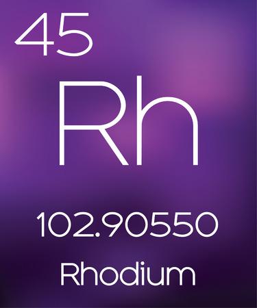 rhodium: Purple Background with the Element Rhodium