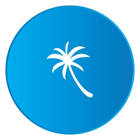 palmtree: A White Icon Isolated on a Blue Button - Palmtree Stock Photo