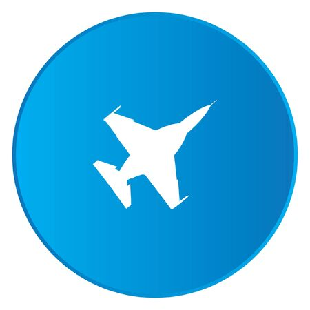 fighter jet: A White Icon Isolated on a Blue Button - Fighter Jet