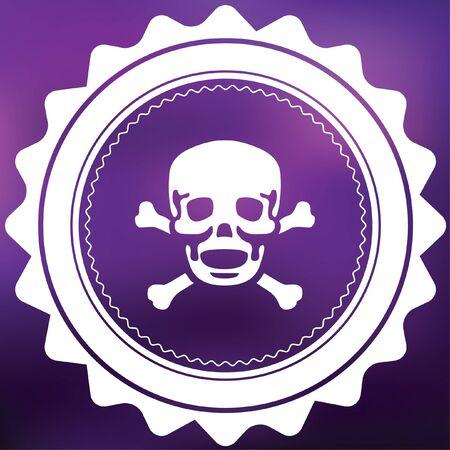 cross bones: A Retro Icon Isolated on a Purple Background - Skull and Cross Bones