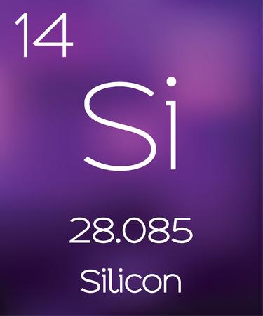 silicio: Fondo púrpura con el elemento silicio Foto de archivo