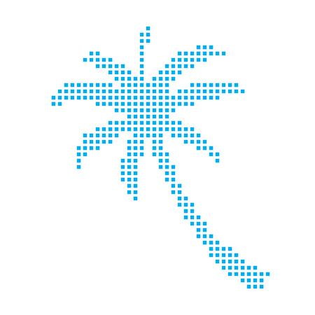 palmtree: A Blue Mosaic Icon Isolated on a White Background - Palmtree Stock Photo