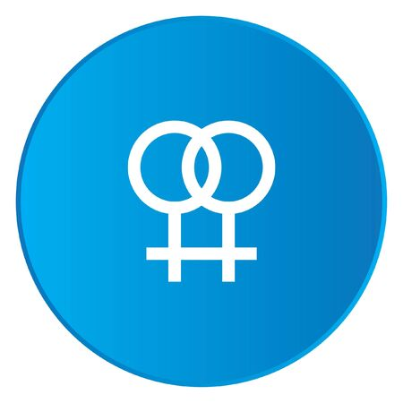 lesbian: A White Icon Isolated on a Blue Button - Lesbian