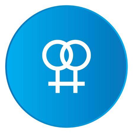lesbienne: Une ic�ne blanche Isol� sur un bouton bleu - Lesbiennes