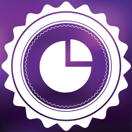exploded: A Retro Icon Isolated on a Purple Background - Pie Chart Exploded